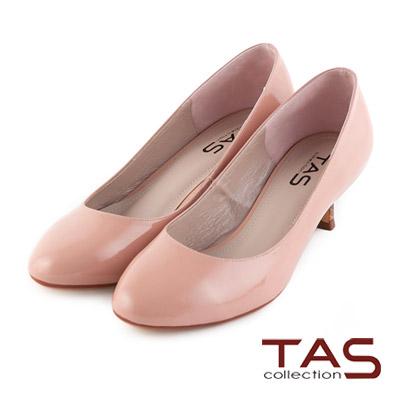 TAS-光澤感鏡面牛皮高跟鞋-裸膚粉