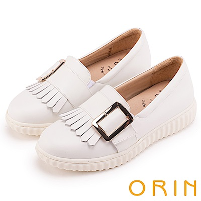 ORIN 復古學院風 流蘇皮帶方釦牛皮樂福平底鞋-白色