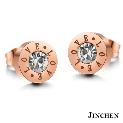 JINCHEN 白鋼LOVE耳環 玫瑰金