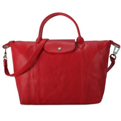 Longchamp Le Pliage Cuir小羊皮短把折疊中型水餃包-紅色
