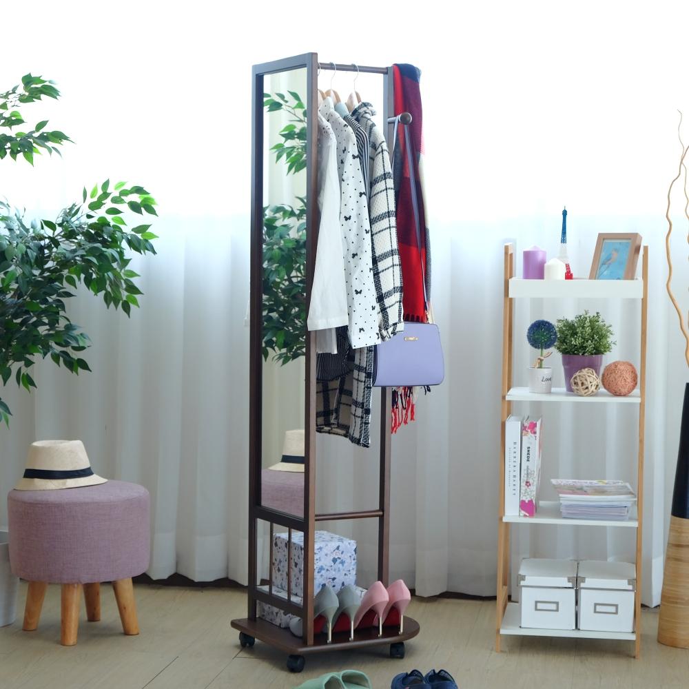 EASY HOME-實木多功能掛衣鏡附活動輪(胡桃色)-48x52x163.1cm