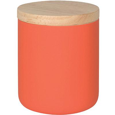 NOW 木蓋陶製密封罐(橘680ml)