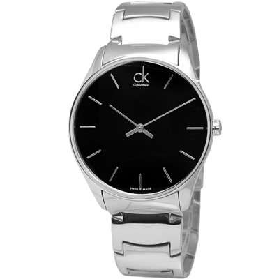 cK 極簡紐約前衛時尚不鏽鋼腕錶-黑/38mm