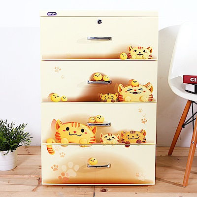 HOUSE 胖胖喵4抽收納櫃-附小輪-黃色