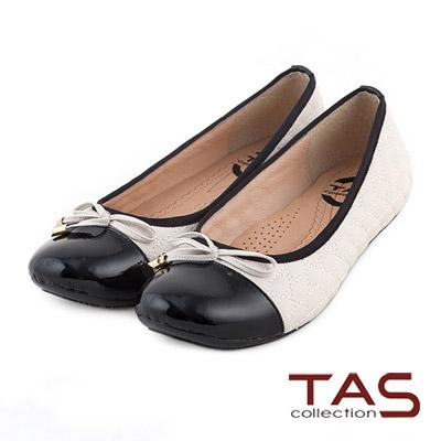 TAS-太妃Q系列-柔軟乳膠蝴蝶結菱格紋拼接娃娃鞋