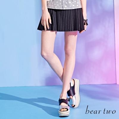 beartwo細條紋拼接傘狀百摺裙-黑色