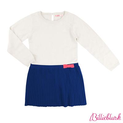 Billieblush女童雙色針織百褶洋裝