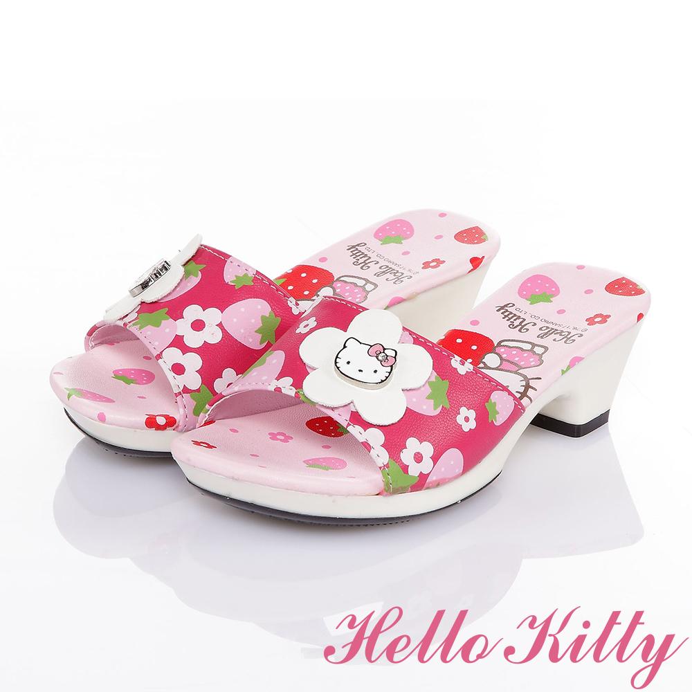 HelloKitty 草莓系列 甜心草莓舒適休閒低跟拖鞋童鞋-桃