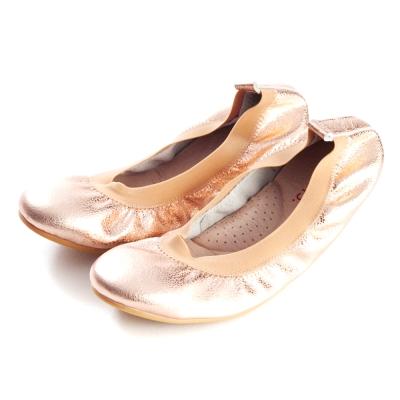 G.Ms.旅行女孩II-金屬羊皮鬆緊口可攜式軟Q娃娃鞋(附鞋袋)-玫瑰金