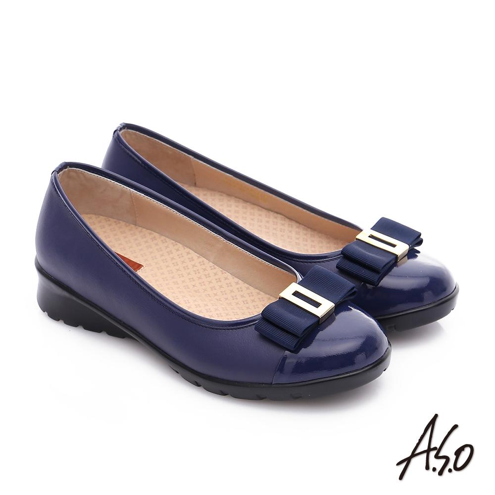 A.S.O 挺麗氣墊 鏡面牛皮蝴蝶結飾奈米氣墊鞋 藍