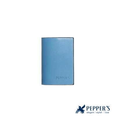 PEPPER`S  Norah 牛皮護照套 - 灰藍