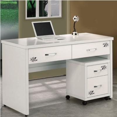 品家居 紫藤花4.2尺白色二抽電腦書桌
