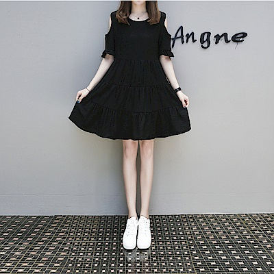 中大尺碼素色荷葉袖露肩蛋糕洋裝XL~4L-Ballet Dolly