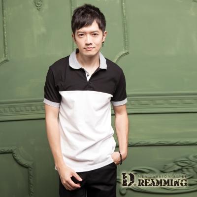 Dreamming 雙色經典條紋拼接網眼棉質短POLO衫-共三色