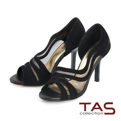 TAS 透膚網紗側鏤空羊麂皮高跟鞋-小香黑