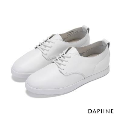 達芙妮DAPHNE 休閒鞋-軟牛皮素面綁帶休閒鞋-白