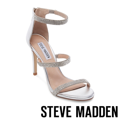 STEVE MADDEN-SMOKIN 水鑽一字踝背帶高跟涼鞋-銀色