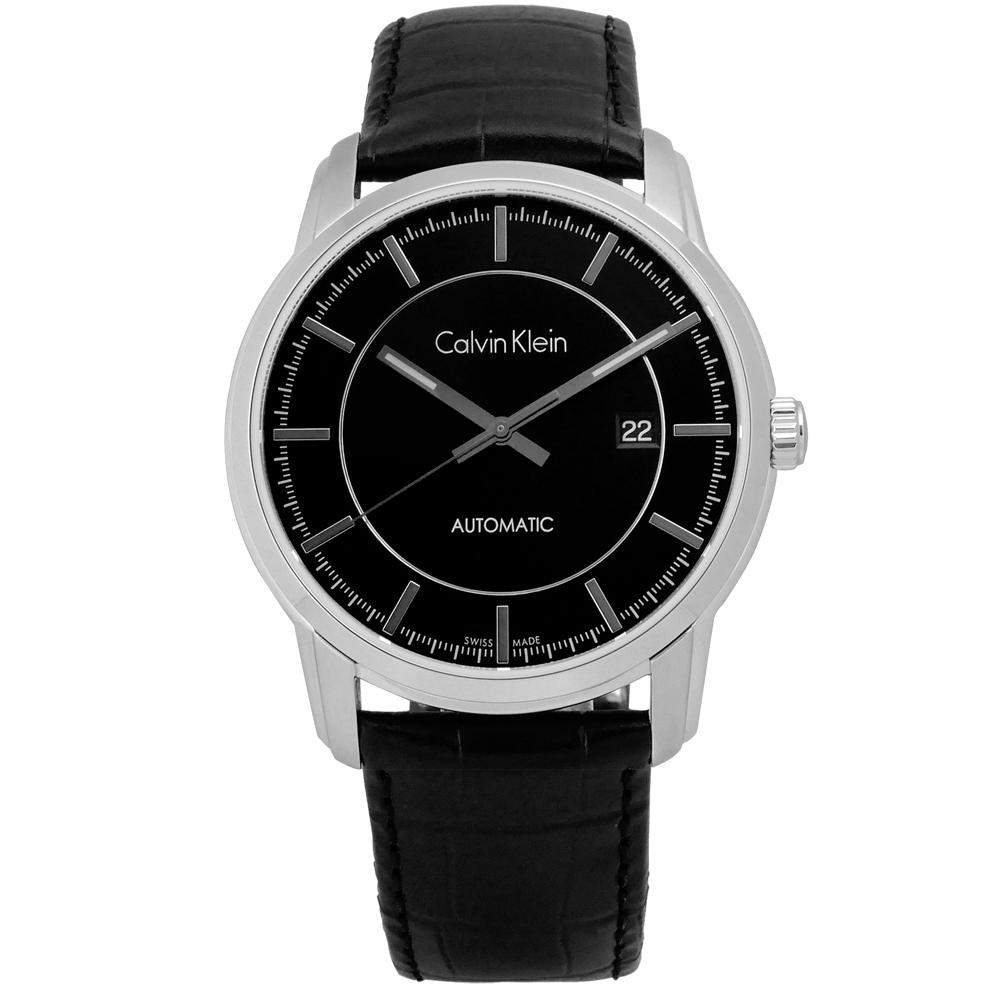 CK Infinite機械皮革腕錶-黑色/42mm