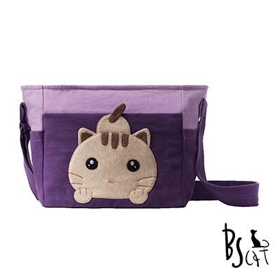 ABS貝斯貓 可愛貓咪拼布 肩背包 斜揹包 (紫) 88-206