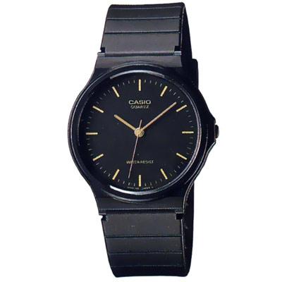 CASIO  超輕薄感數字錶(MQ-24-1E)-黑x金丁字