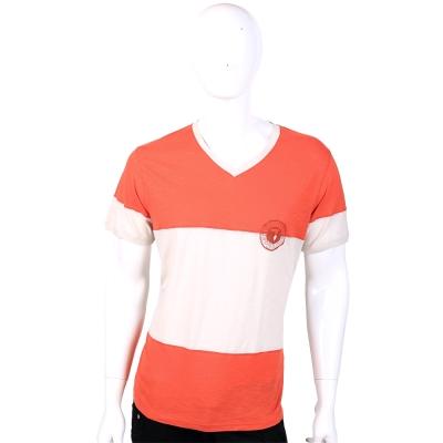 TRUSSARDI 橘/灰色V領撞色短袖上衣