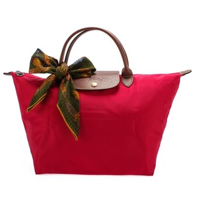 Longchamp 折疊中型水餃包(短提把/玫瑰紅)-加贈帕巾