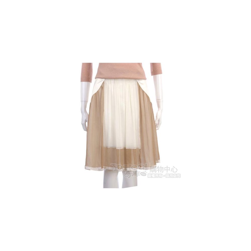 PHILOSOPHY-AF 白/駝色拼接紗質及膝裙