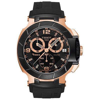 (無卡分期6期)TISSOT T-RACE 急速傳奇計時運動錶-黑/玫瑰金框/45mm