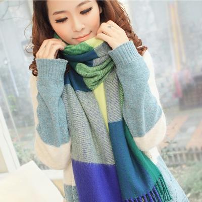 幸福揚邑 羊絨質感格紋保暖圍巾/披肩-藍綠格