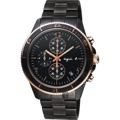 agnes b. 巴黎限定計時手錶(B7A004X1)-鍍黑x玫塊金框/43mm