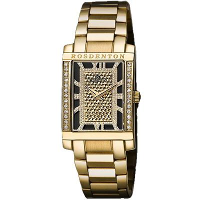 ROSDENTON 勞斯丹頓年度風雲華麗晶鑽時尚手錶-金/22mm