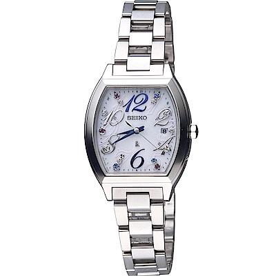 SEIKO Lukia 酒桶型太陽能電波腕錶(SSVW081J)白/27mm