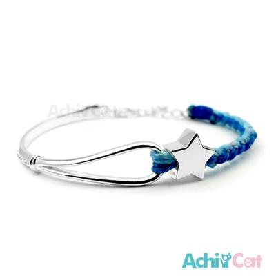 AchiCat 蠶絲蠟繩手鍊 925純銀飾 夢幻冒險(藍色)