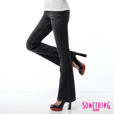 【SOMETHING】時尚憧憬 針織磨毛靴型保溫褲-女款(原藍磨)