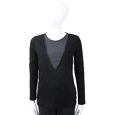 FABIANA FILIPPI 銀鍊細節黑色假兩件紗質上衣