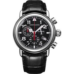 AEROWATCH 都會仕紳三眼計時腕錶-黑/44mm