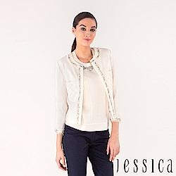 【JESSICA】高貴緹花鑽珠外套(白)