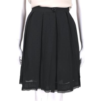 CLASS roberto cavalli 黑色蕾絲滾邊抓褶及膝裙