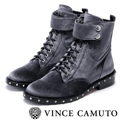Vince Camuto  耀眼鉚釘奢華絨布質感短靴-灰色
