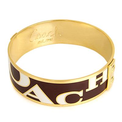 COACH-金燦深咖啡Logo文字精緻手環