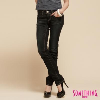 SOMETHING光澤內斂-亮片窄直筒牛仔褲-女款-原藍磨