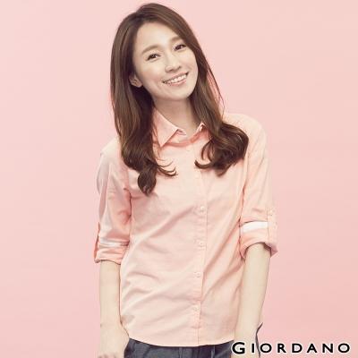 GIORDANO-女裝質感素面牛津紡襯衫-55蜜桃