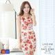 LIYO理優韓系洋裝彈性顯瘦印花洋裝(橘,藍