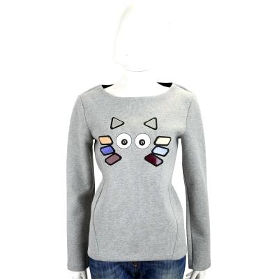Karl Lagerfeld Choupette 灰色幾何貓咪圖案太空棉長袖T恤
