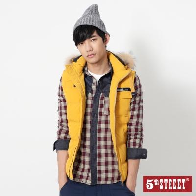 5th STREET 造型貼袋羽絨連帽背心-男-黃色
