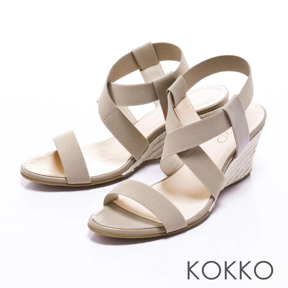 KOKKO日本同步百搭羅馬麻繩楔型涼鞋卡其