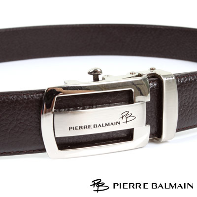 PB 皮爾帕門-經典方框圓角簍空霧亮咖啡Logo款-頭層牛皮自動扣皮帶-701