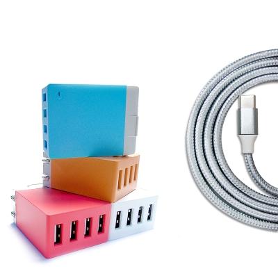 QLA Type C USB快充組合:4USB旅充+3A銀色傳輸充電線1M
