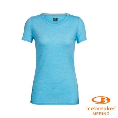 【Icebreaker】女 美麗諾羊毛 COOL-LITE 圓領短袖上衣_條紋淡藍