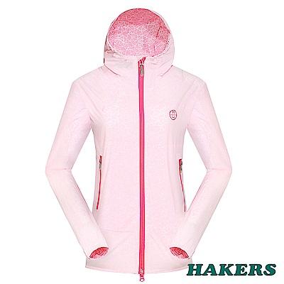 【HAKERS】女-2.5L輕量外套-白底櫻桃粉印花